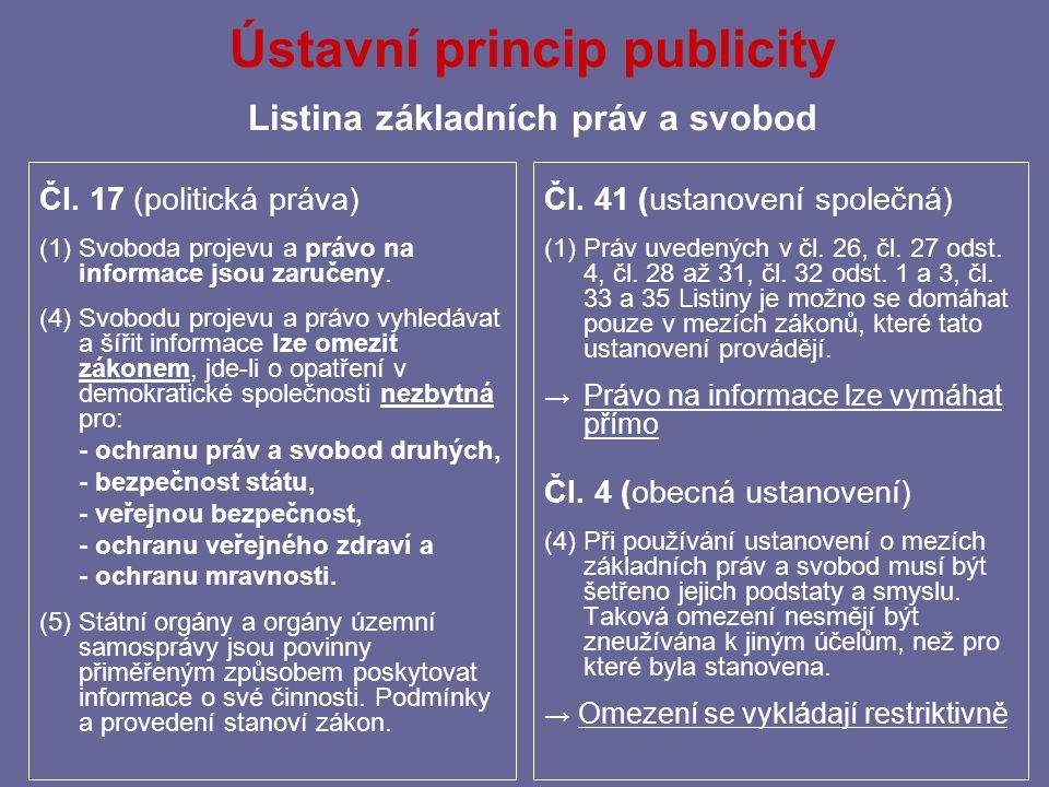 Ústavní princip publicity Listina základních práv a svobod Čl.
