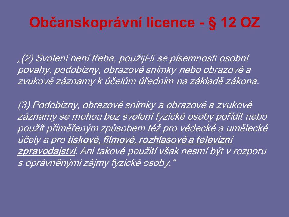 Zákonné licence - § 5/2 ZOOÚ e) jedná-li se o oprávněně zveřejněné osobní údaje v souladu se zvláštním předpisem.