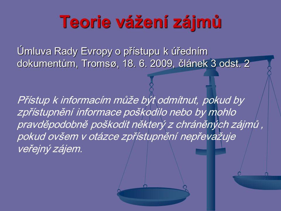 Teorie vážení zájmů Případnou konkurenci dvou základních práv realizovaných normami stejné právní síly sledujícími dva odlišné cíle lze řešit použitím teorie vážení zájmů tj.