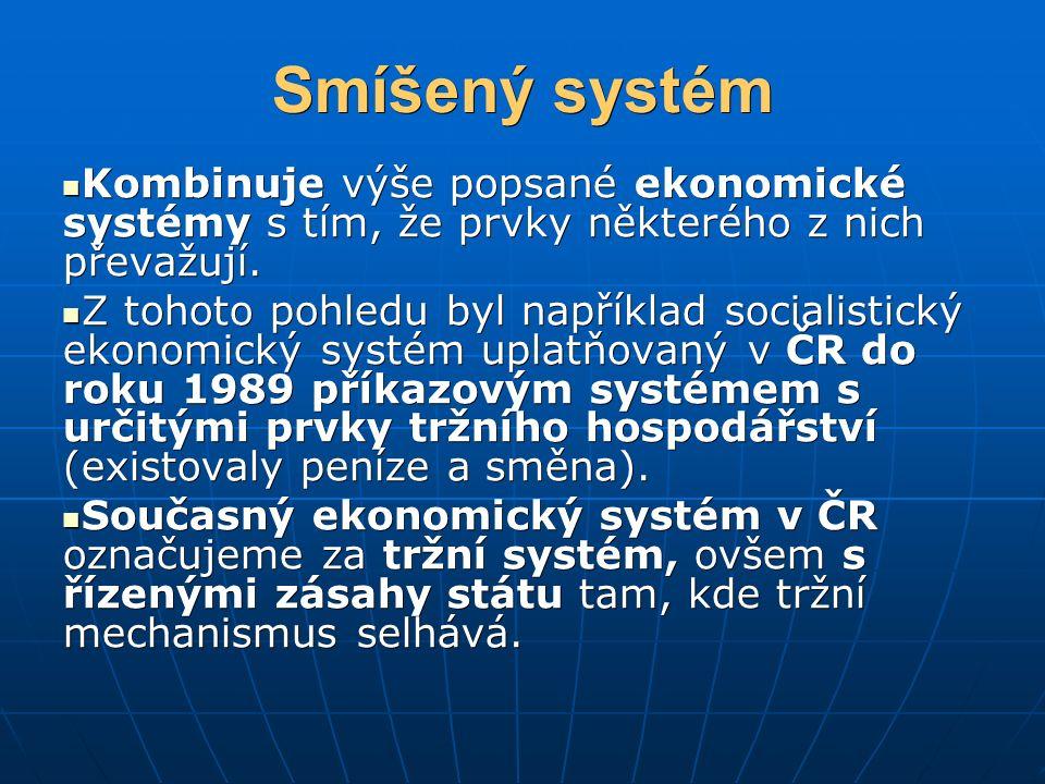 Smíšený systém Kombinuje výše popsané ekonomické systémy s tím, že prvky některého z nich převažují. Kombinuje výše popsané ekonomické systémy s tím,