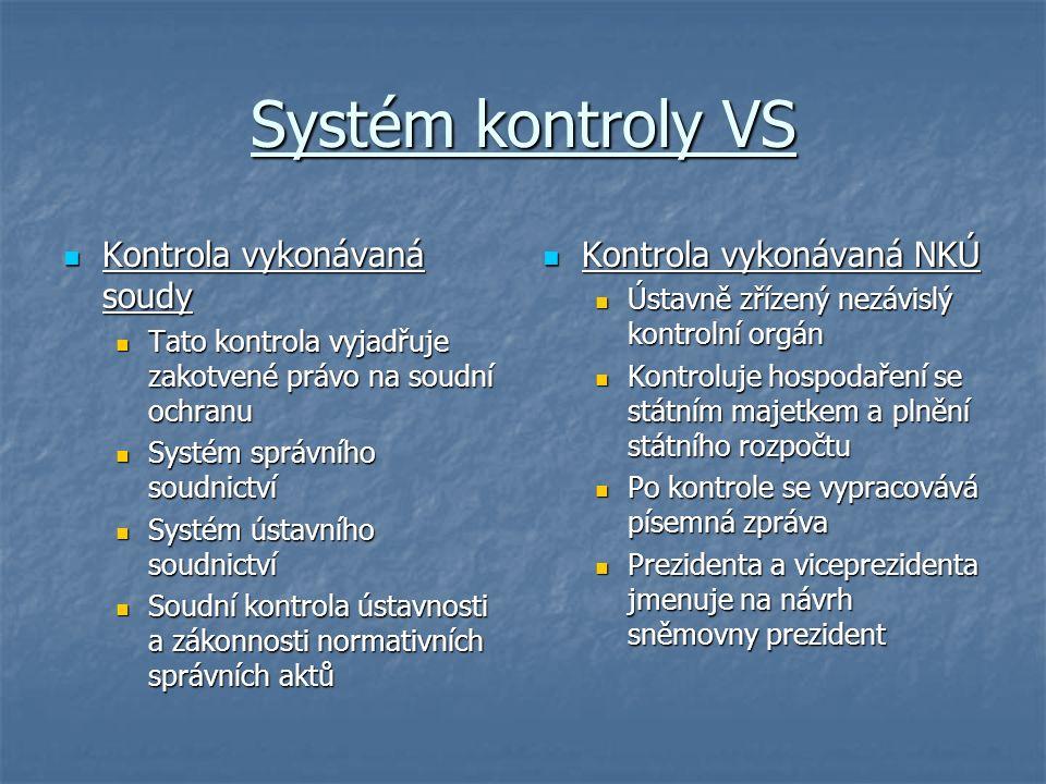 Systém kontroly VS Kontrola vykonávaná soudy Kontrola vykonávaná soudy Tato kontrola vyjadřuje zakotvené právo na soudní ochranu Tato kontrola vyjadřu