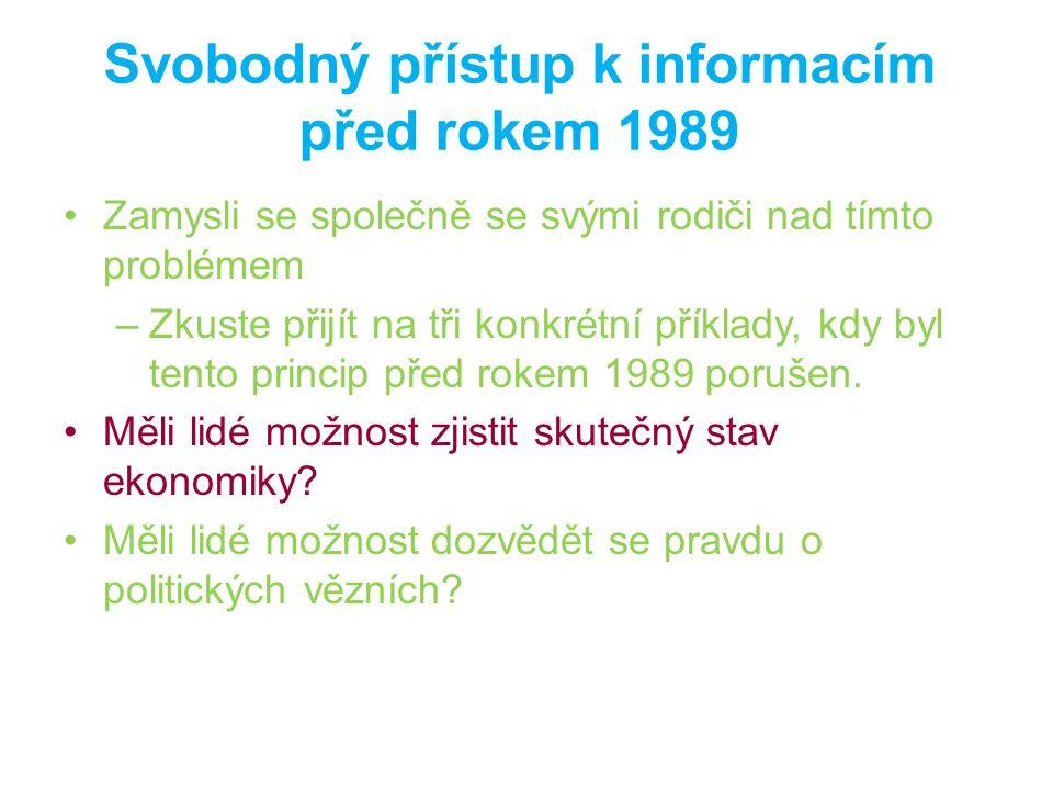 Svobodný přístup k informacím před rokem 1989 Zamysli se společně se svými rodiči nad tímto problémem –Zkuste přijít na tři konkrétní příklady, kdy by