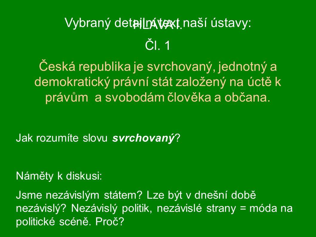 Vybraný detailní text naší ústavy: HLAVA I. Čl.