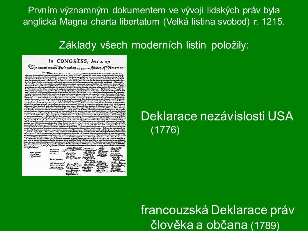 Prvním významným dokumentem ve vývoji lidských práv byla anglická Magna charta libertatum (Velká listina svobod) r.
