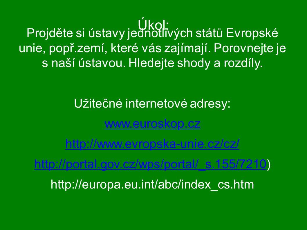Úkol: Projděte si ústavy jednotlivých států Evropské unie, popř.zemí, které vás zajímají.