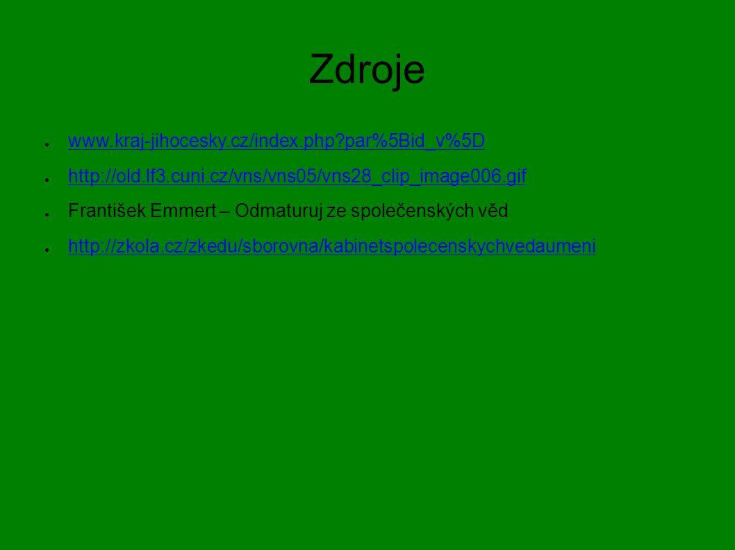 Zdroje ● www.kraj-jihocesky.cz/index.php par%5Bid_v%5D www.kraj-jihocesky.cz/index.php par%5Bid_v%5D ● http://old.lf3.cuni.cz/vns/vns05/vns28_clip_image006.gif http://old.lf3.cuni.cz/vns/vns05/vns28_clip_image006.gif ● František Emmert – Odmaturuj ze společenských věd ● http://zkola.cz/zkedu/sborovna/kabinetspolecenskychvedaumeni http://zkola.cz/zkedu/sborovna/kabinetspolecenskychvedaumeni