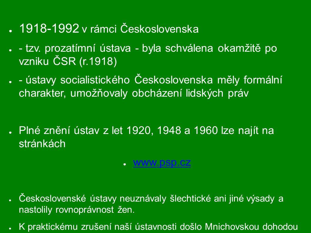 Od r.1993 v rámci samostatné České republiky - byla schválena Českou národní radou 16.