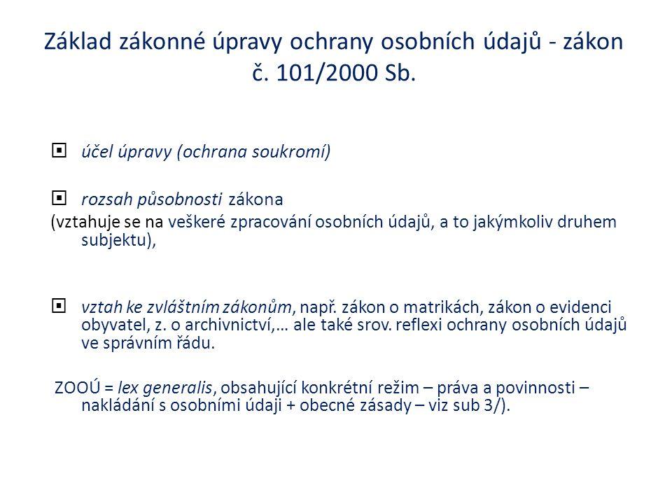 Základ zákonné úpravy ochrany osobních údajů - zákon č.