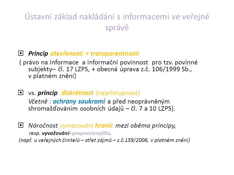 Ústavní základ nakládání s informacemi ve veřejné správě  Princip otevřenosti + transparentnosti ( právo na informace a informační povinnost pro tzv.