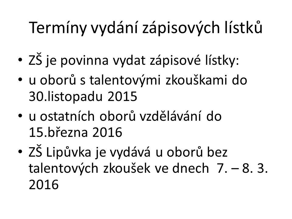 Termíny vydání zápisových lístků ZŠ je povinna vydat zápisové lístky: u oborů s talentovými zkouškami do 30.listopadu 2015 u ostatních oborů vzdělávání do 15.března 2016 ZŠ Lipůvka je vydává u oborů bez talentových zkoušek ve dnech 7.