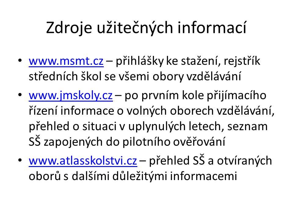 Zdroje užitečných informací www.msmt.cz – přihlášky ke stažení, rejstřík středních škol se všemi obory vzdělávání www.msmt.cz www.jmskoly.cz – po prvním kole přijímacího řízení informace o volných oborech vzdělávání, přehled o situaci v uplynulých letech, seznam SŠ zapojených do pilotního ověřování www.jmskoly.cz www.atlasskolstvi.cz – přehled SŠ a otvíraných oborů s dalšími důležitými informacemi www.atlasskolstvi.cz