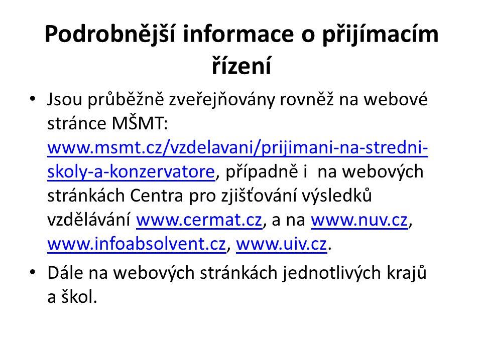 Podrobnější informace o přijímacím řízení Jsou průběžně zveřejňovány rovněž na webové stránce MŠMT: www.msmt.cz/vzdelavani/prijimani-na-stredni- skoly-a-konzervatore, případně i na webových stránkách Centra pro zjišťování výsledků vzdělávání www.cermat.cz, a na www.nuv.cz, www.infoabsolvent.cz, www.uiv.cz.