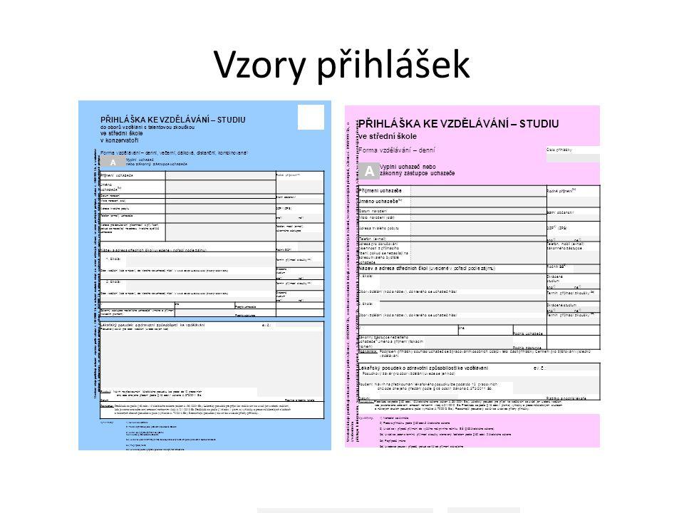 Vzory přihlášek Uvedené údaje podléhají ochraně zejména podle zákona č.