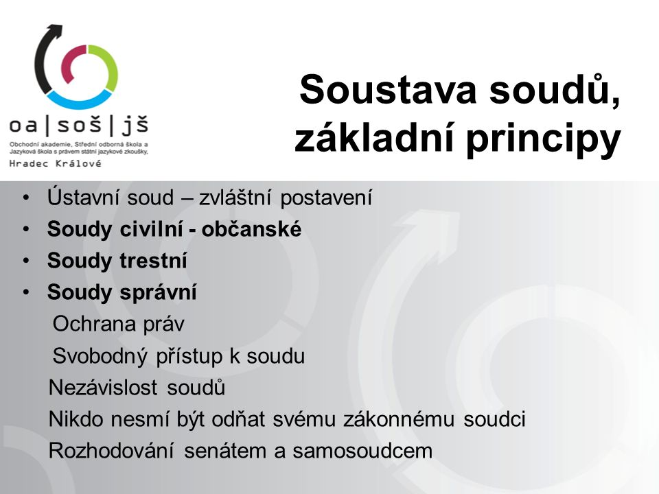 Soustava soudů Nejvyšší soud ČR Vrchní soudy Krajské soudy Okresní soudy