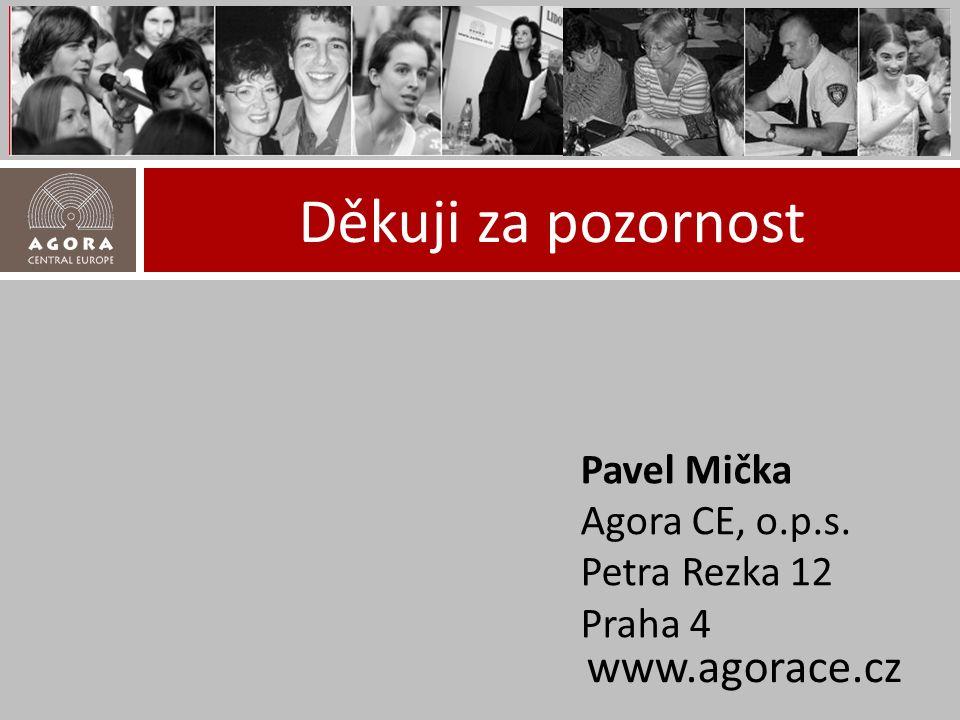 Děkuji za pozornost www.agorace.cz Pavel Mička Agora CE, o.p.s. Petra Rezka 12 Praha 4