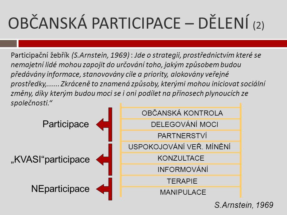 OBČANSKÁ PARTICIPACE – DĚLENÍ (3) Tři úrovně zapojení veřejnosti – OECD, 2001 Informování jednosměrná komunikace od rozhodovatele k občanů.