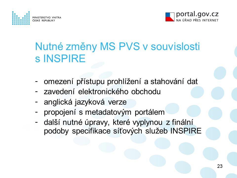 23 Nutné změny MS PVS v souvislosti s INSPIRE - omezení přístupu prohlížení a stahování dat - zavedení elektronického obchodu - anglická jazyková verze - propojení s metadatovým portálem - další nutné úpravy, které vyplynou z finální podoby specifikace síťových služeb INSPIRE