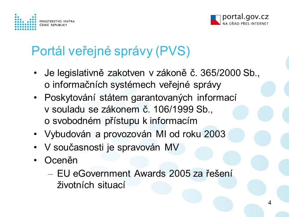 4 Portál veřejné správy (PVS) Je legislativně zakotven v zákoně č.