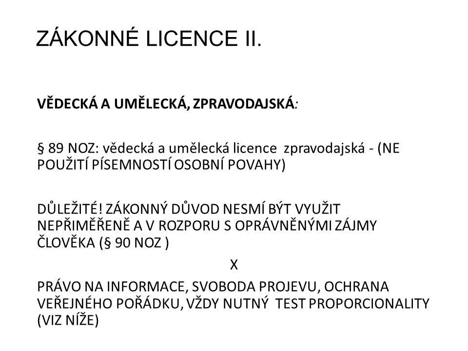 ZÁKONNÉ LICENCE II.