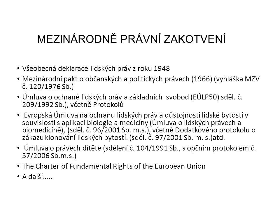 MEZINÁRODNĚ PRÁVNÍ ZAKOTVENÍ Všeobecná deklarace lidských práv z roku 1948 Mezinárodní pakt o občanských a politických právech (1966) (vyhláška MZV č.