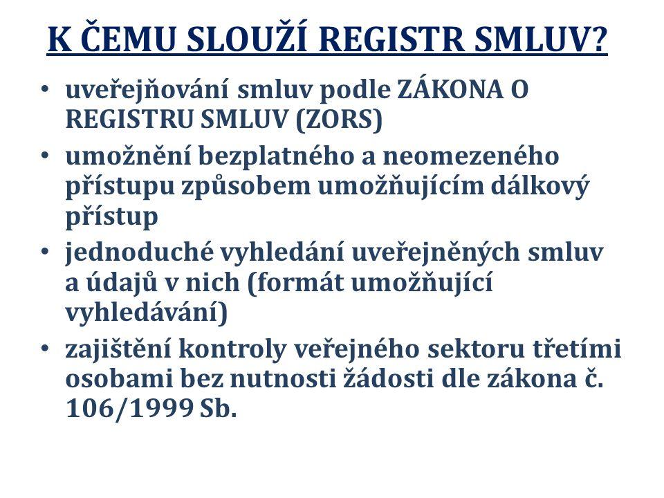 K ČEMU SLOUŽÍ REGISTR SMLUV.