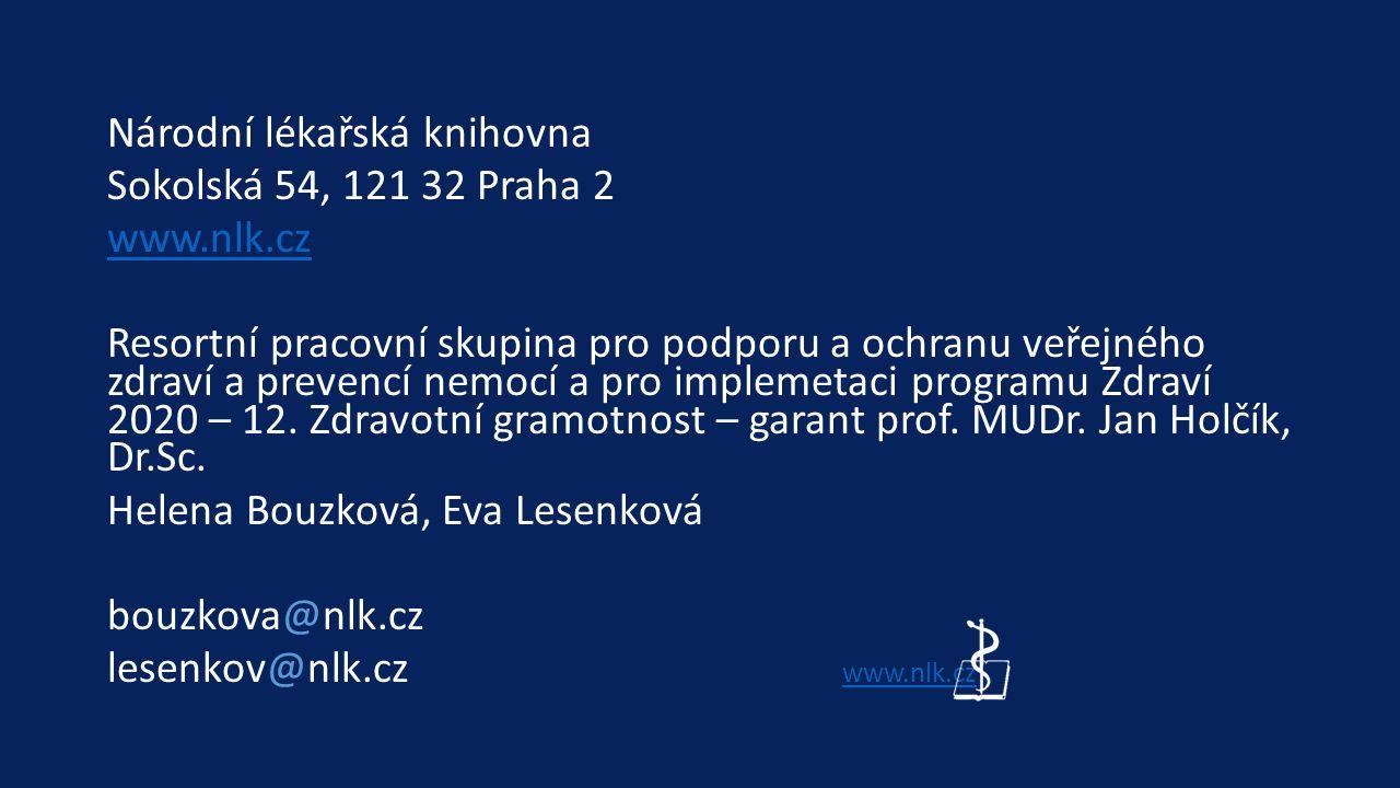 Národní lékařská knihovna Sokolská 54, 121 32 Praha 2 www.nlk.cz Resortní pracovní skupina pro podporu a ochranu veřejného zdraví a prevencí nemocí a pro implemetaci programu Zdraví 2020 – 12.
