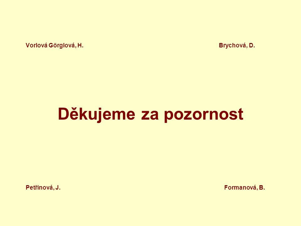 Vorlová Görglová, H. Brychová, D. Děkujeme za pozornost Petřinová, J. Formanová, B.