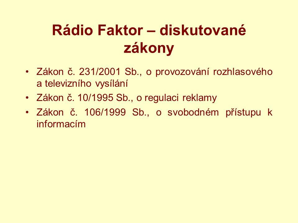 Rádio Faktor – diskutované zákony Zákon č.
