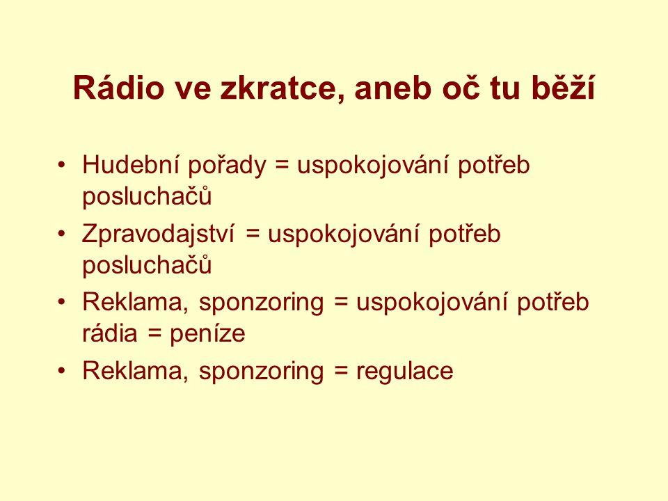 Rádio ve zkratce, aneb oč tu běží Hudební pořady = uspokojování potřeb posluchačů Zpravodajství = uspokojování potřeb posluchačů Reklama, sponzoring = uspokojování potřeb rádia = peníze Reklama, sponzoring = regulace