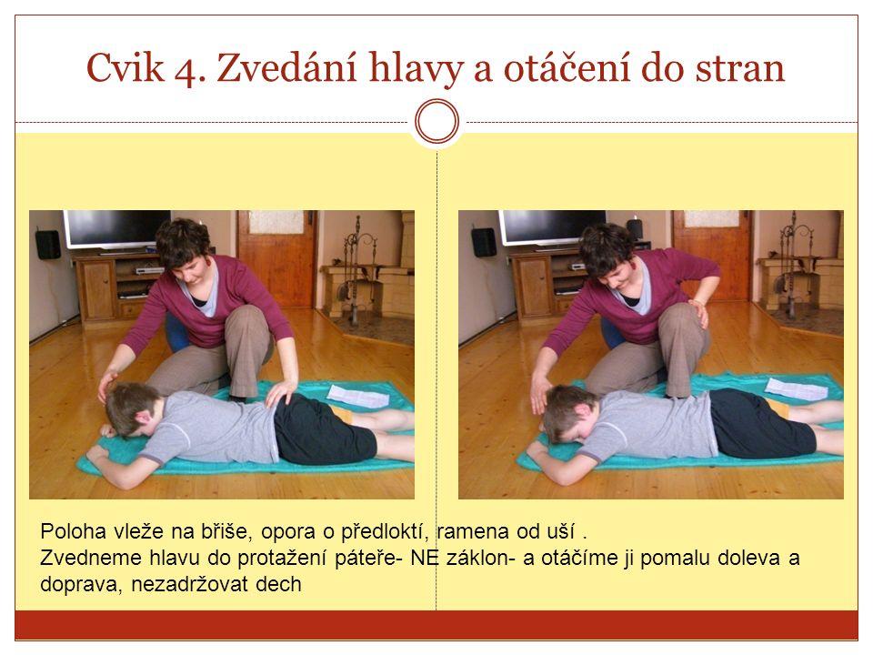 Cvik 4. Zvedání hlavy a otáčení do stran Poloha vleže na břiše, opora o předloktí, ramena od uší.