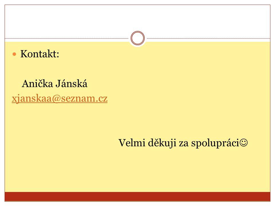 Kontakt: Anička Jánská xjanskaa@seznam.cz Velmi děkuji za spolupráci