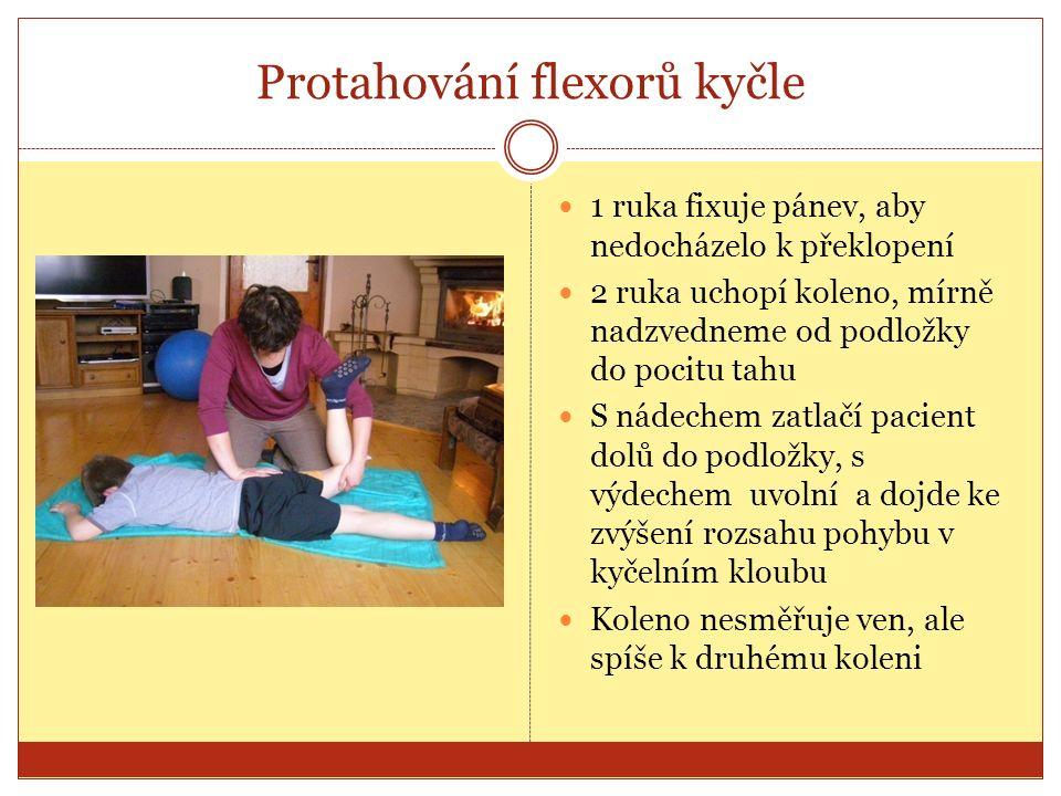 Protahování flexorů kyčle 1 ruka fixuje pánev, aby nedocházelo k překlopení 2 ruka uchopí koleno, mírně nadzvedneme od podložky do pocitu tahu S nádechem zatlačí pacient dolů do podložky, s výdechem uvolní a dojde ke zvýšení rozsahu pohybu v kyčelním kloubu Koleno nesměřuje ven, ale spíše k druhému koleni
