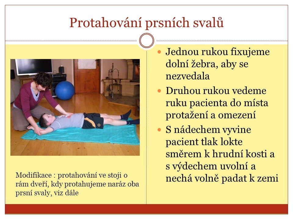 Protažení flexorů lokte Předloktí (dlaň) směřuje nahoru a ruka volně leží na zemi Jednou rukou fixujeme rameno, aby nešlo dopředu ani vzhůru Druhou rukou držíme zápěstí a pomalu směřujeme hřbet dlaně dolů k zemi S nádechem pacient zatlačí zápěstím směrem nahoru a s výdechem zcela uvolní – tah je cítit v lokti
