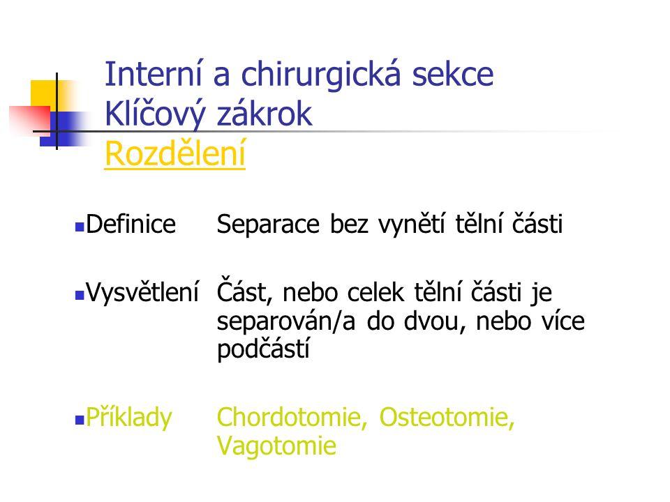 Interní a chirurgická sekce Klíčový zákrok Rozdělení DefiniceSeparace bez vynětí tělní části VysvětleníČást, nebo celek tělní části je separován/a do dvou, nebo více podčástí PříkladyChordotomie, Osteotomie, Vagotomie