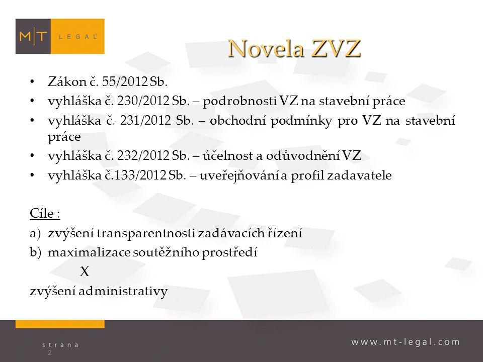Novela ZVZ Zákon č. 55/2012 Sb. vyhláška č. 230/2012 Sb.