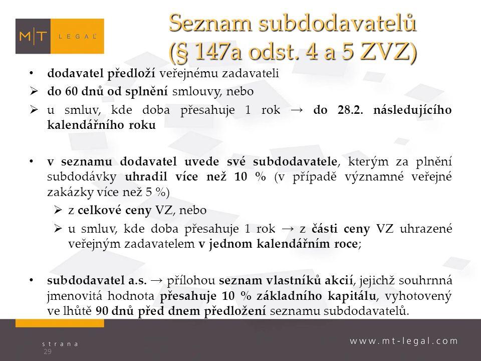 Seznam subdodavatelů (§ 147a odst.