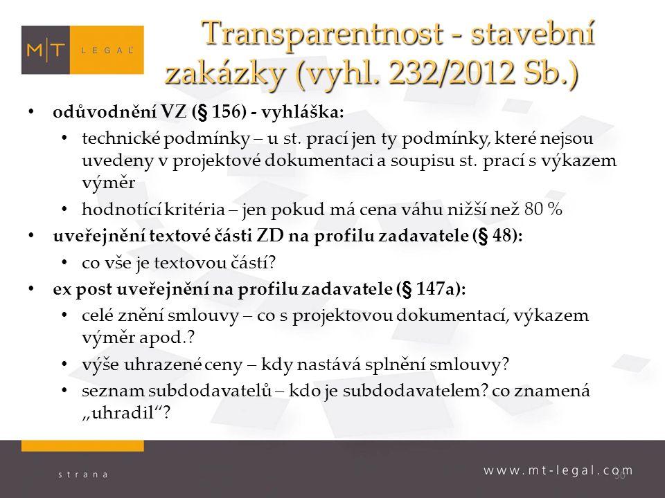 50 Transparentnost - stavební zakázky (vyhl.