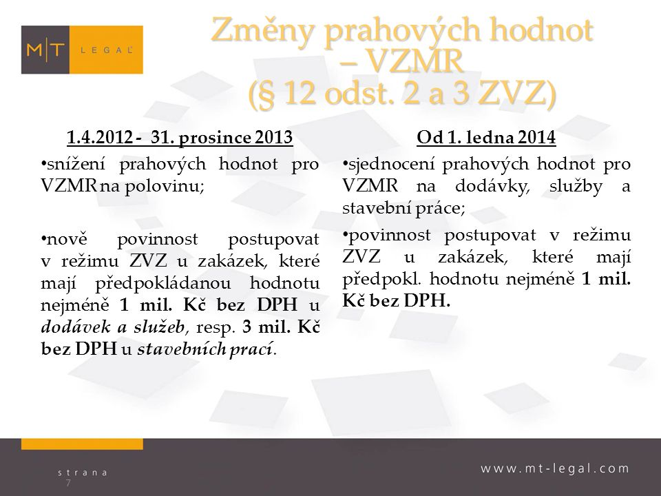 Změny prahových hodnot – VZMR (§ 12 odst. 2 a 3 ZVZ) 1.4.2012 - 31.