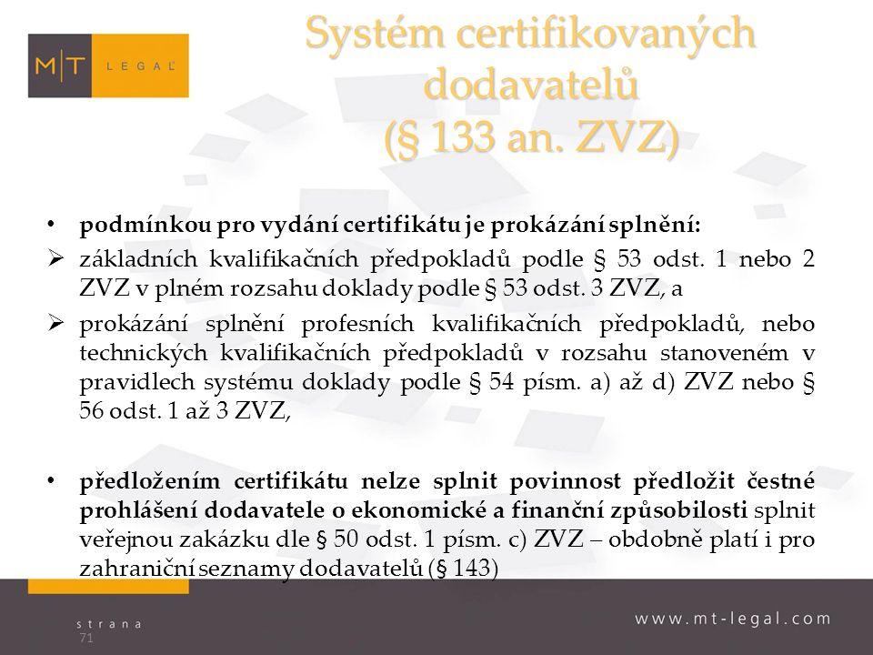 Systém certifikovaných dodavatelů (§ 133 an.
