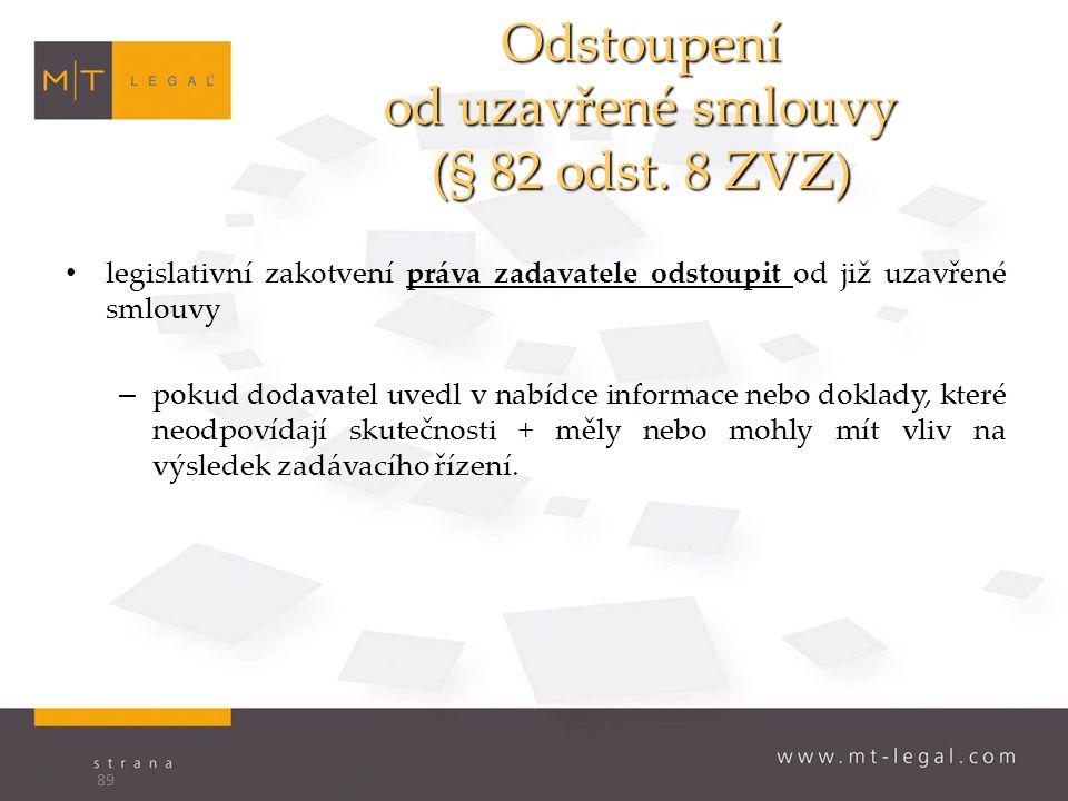 Odstoupení od uzavřené smlouvy (§ 82 odst.