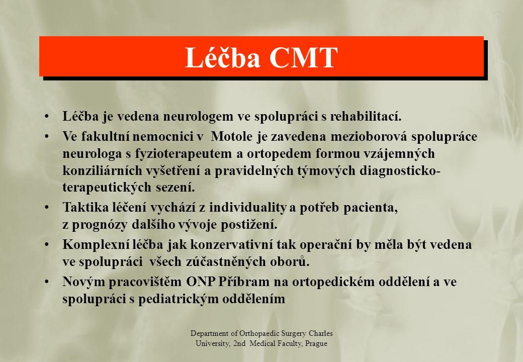 Department of Orthopaedic Surgery Charles University, 2nd Medical Faculty, Prague Konzervativní léčba Základem konzervativní terapie je REH (krátkodobý a dlouhodobý rehabilitační plán) Z ortopedického hlediska je to kalceotická péče a jiné kompenzační pomůcky.