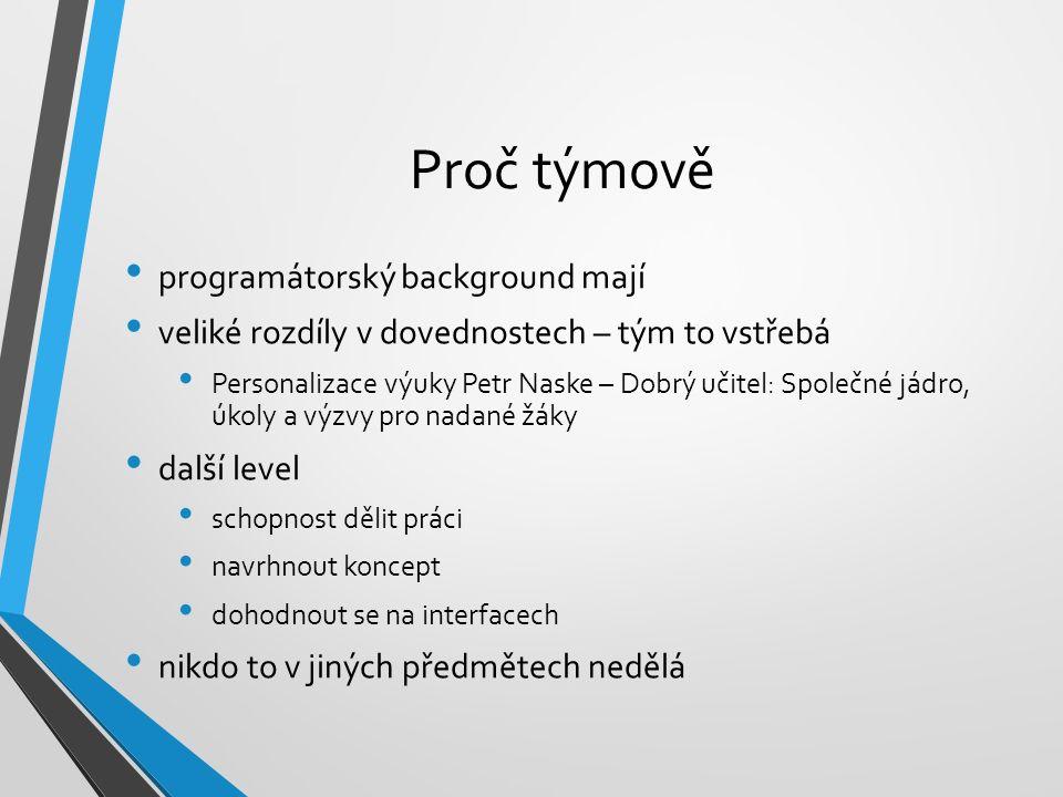 Proč týmově programátorský background mají veliké rozdíly v dovednostech – tým to vstřebá Personalizace výuky Petr Naske – Dobrý učitel: Společné jádr