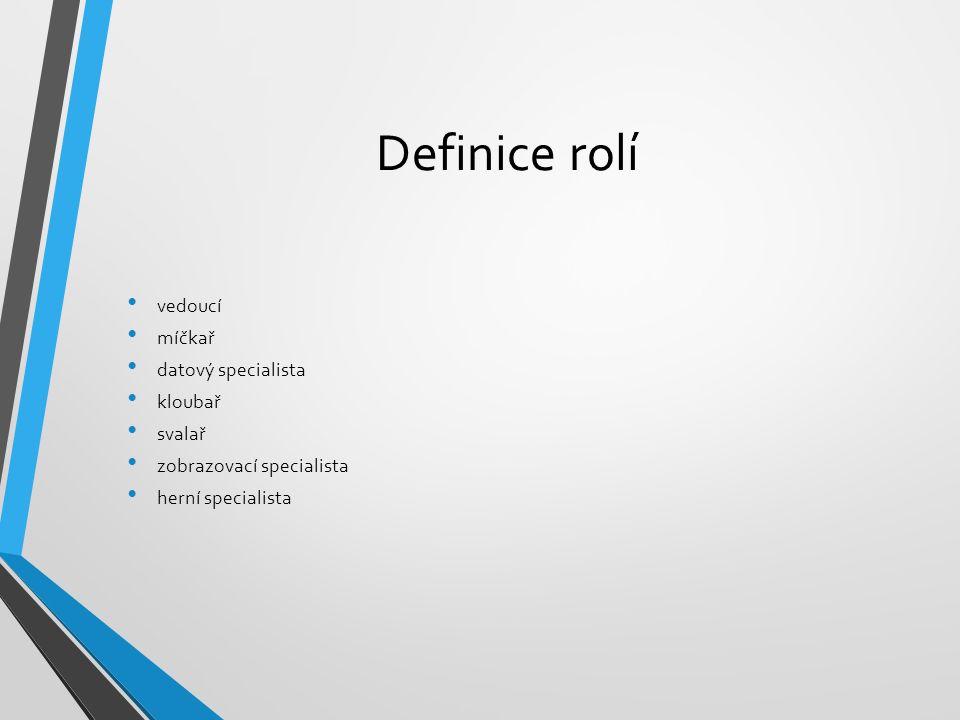 Definice rolí vedoucí míčkař datový specialista kloubař svalař zobrazovací specialista herní specialista