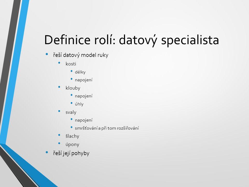Definice rolí: datový specialista řeší datový model ruky kosti délky napojení klouby napojení úhly svaly napojení smršťování a při tom rozšiřování šla