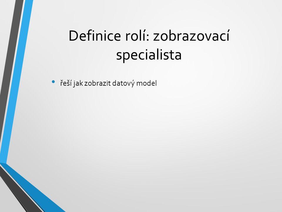 Definice rolí: zobrazovací specialista řeší jak zobrazit datový model