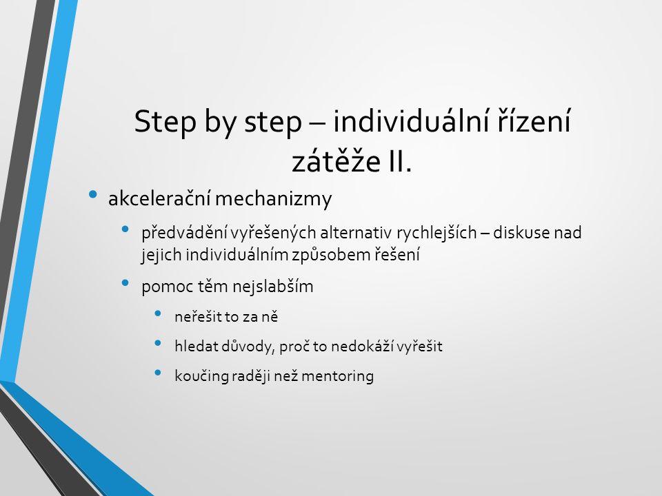 Step by step – individuální řízení zátěže II. akcelerační mechanizmy předvádění vyřešených alternativ rychlejších – diskuse nad jejich individuálním z