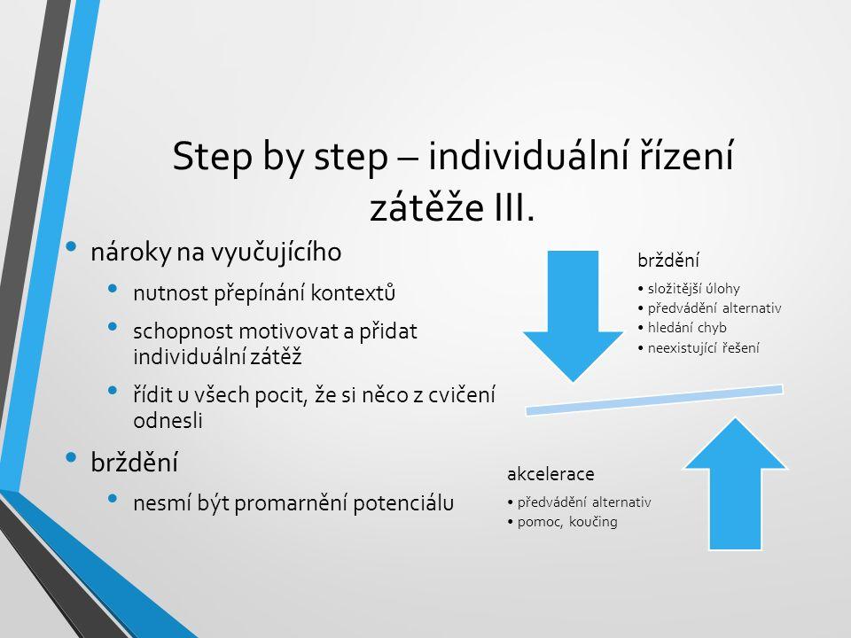Step by step – individuální řízení zátěže III. nároky na vyučujícího nutnost přepínání kontextů schopnost motivovat a přidat individuální zátěž řídit