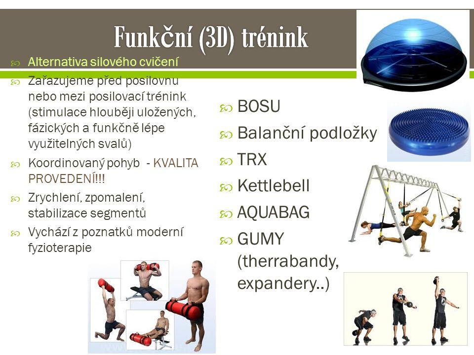  Alternativa silového cvičení  Zařazujeme před posilovnu nebo mezi posilovací trénink (stimulace hlouběji uložených, fázických a funkčně lépe využit