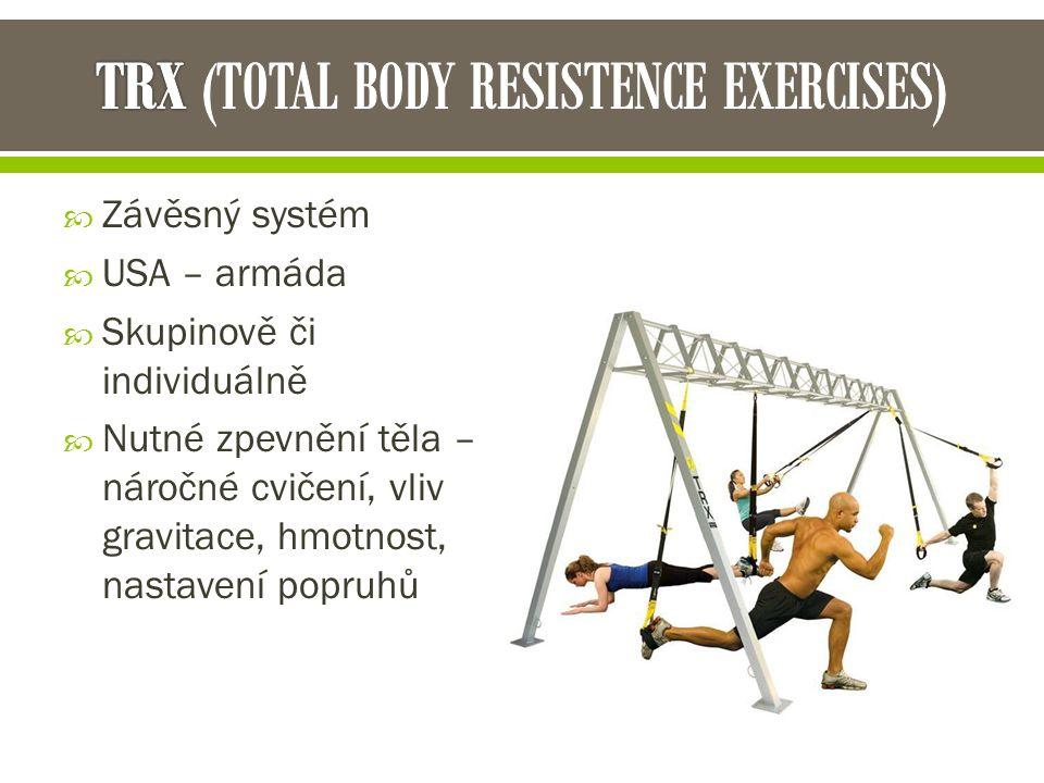  Závěsný systém  USA – armáda  Skupinově či individuálně  Nutné zpevnění těla – náročné cvičení, vliv gravitace, hmotnost, nastavení popruhů