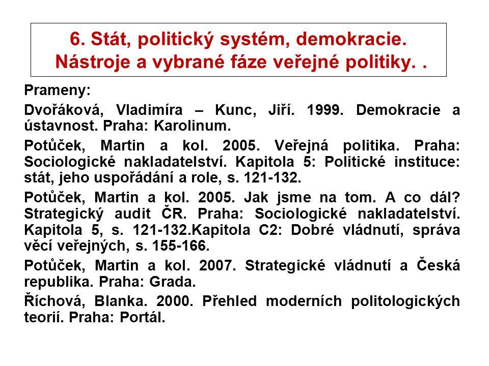 6. Stát, politický systém, demokracie. Nástroje a vybrané fáze veřejné politiky..